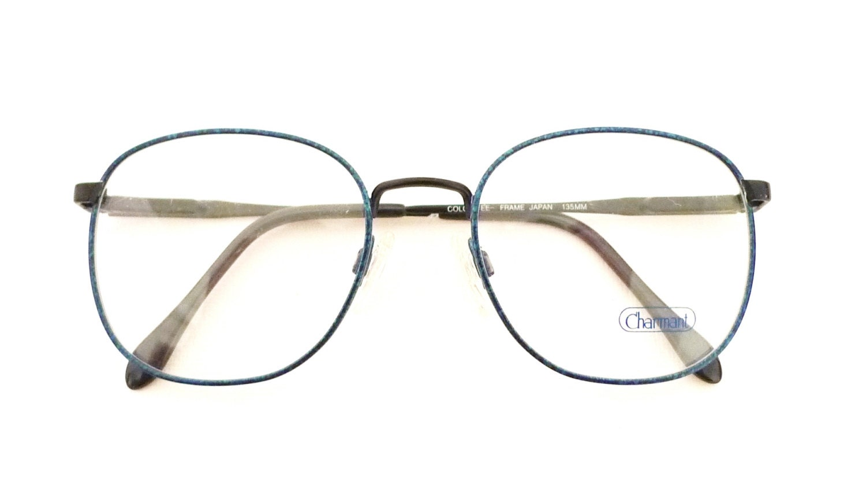 39819e311d2 Vintage 80s Eyewear NOS Marbled Camouflage Preppy Frames Denim Blue Round  ish Disco MOD Eyeglasses Bug