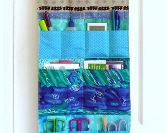 Wall or Door Hanging Pocket Organizer in a Multi Fabric Design