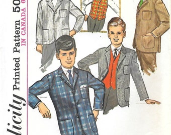 CLOSE OUT/ Simplicity 6108 1960s Boys Jacket and Vest Vintage Sewing Pattern Size 8 Notched Collar Preppy Blazer
