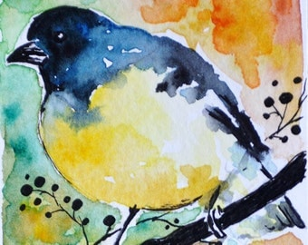 Original Watercolor and Ink Painting Starling Bird ACEO