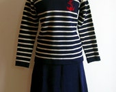 Vintage Bebhinn Marten Wool Navy Stripe Sailor Sweater and Matching Skirt Set