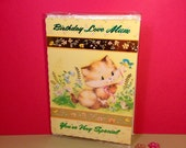 Vintage Birthday Card - Happy Birthday Mum - Fold Out Card - Cute Card - Kitten Card - 1980s