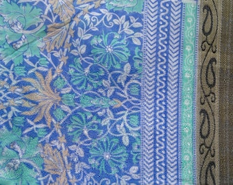 Indian Saree Fabric, Blue Floral Block Print Sari Fabric, Wedding Costume Fabric, Indian Printed Cotton, Dressmaking Fabric With Border