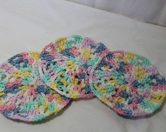Set of 3 Hand Crocheted Wash Cloths for Baby or Toddler