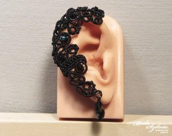 Raven GOTHIC EAR WRAP - victorian ear wrap, adjustable ear cuff, no piercing earcuff, victorian jewelry, gothic ear cuff, gothic jewelry