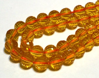 Citrine AAAA quality checker machine facted 8mm beads half strand