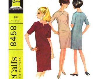 1960s Vintage Dress Pattern McCalls 8458 Front Yoke Shift Dress Dart Fitted Size 14 Womens Sewing Pattern