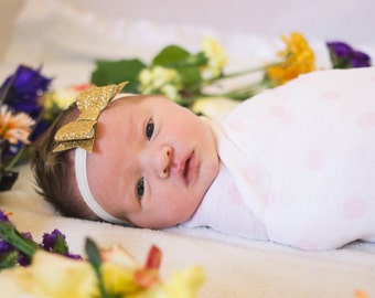 Cailey - gold glitter bow headband