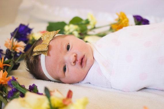 Cailey - gold glitter bow headband