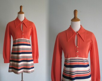 Vintage 60s Super Short Peach and Navy Mini Dress - Cute Mod Scooter Dress with Striped Skirt - Vintage 1960s Dress M