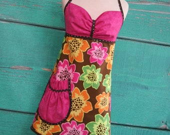 Womens Apron - Vibrant Flowers - Hot Pink & Brown - Ready to Ship