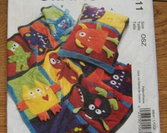 2011 McCalls pattern MONSTER quilt and pillowcase children fun uncut