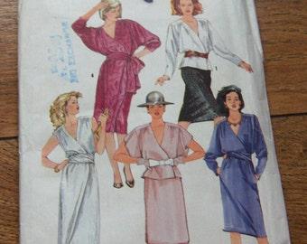 vintage 80s simplicity pattern 6678 misses front wrap dress or top sz 10 b32 1/2 uncut