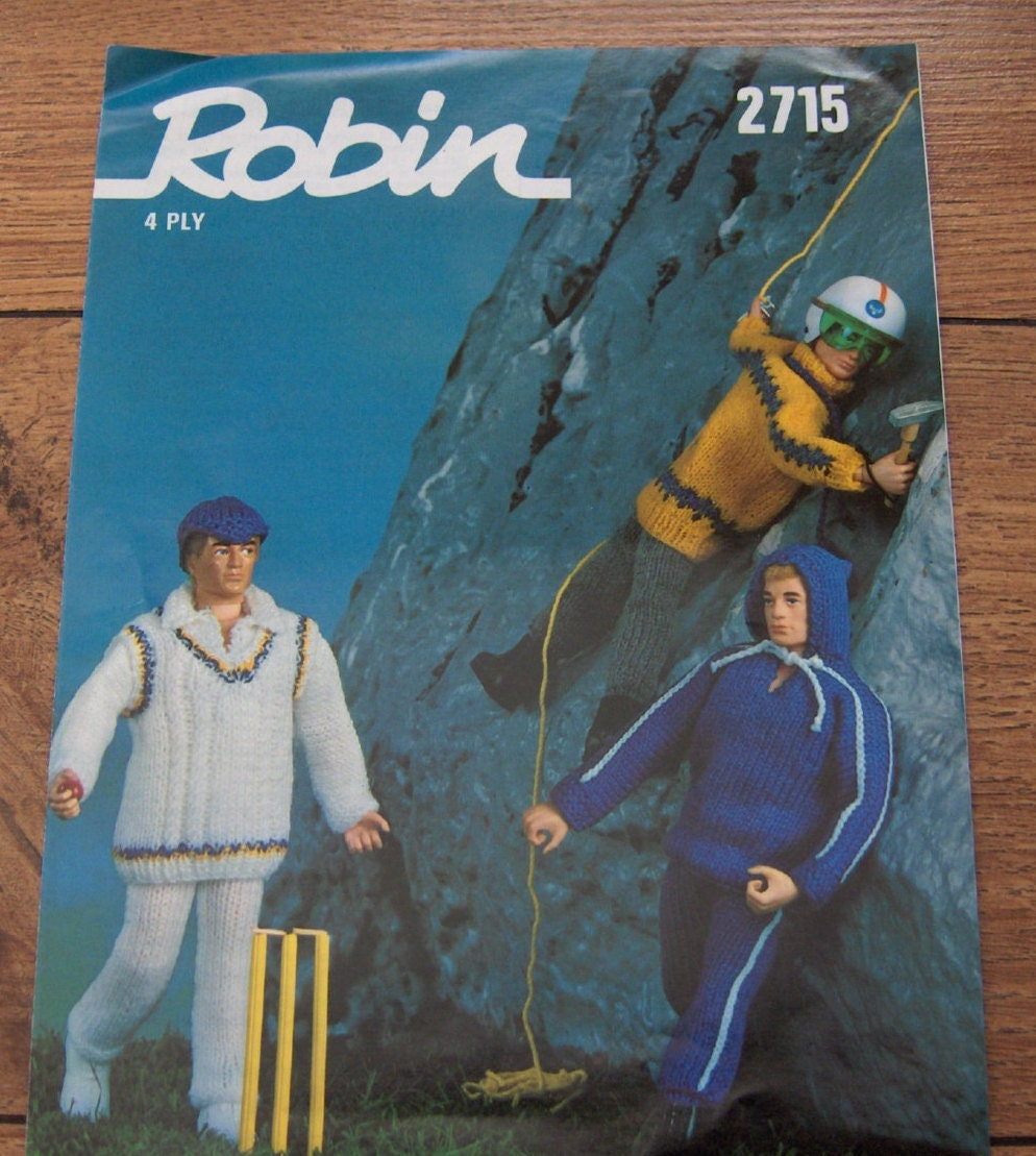vintage Robin knitting pattern fashion doll Ken by GransTreasures