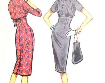 1950s Wiggle Dress McCalls 4846 empire waist dress with bloused bodice, slit neckline Vintage Sewing Pattern Bust 31