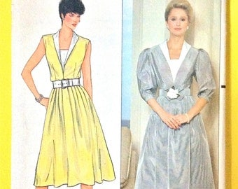 Vintage Butterick 4834 Designer Richard Warren One-Piece Dress Semi-fitted and flared dress, Sleeveless Vintage Sewing Pattern Bust 32.5