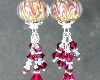 Ruby Red Ivory Beige Glass & Crystal Dangle Earrings, Boho Chic Earrings, Bohemian Jewelry, Boro Lampwork Earrings, Gypsy Jewelry, Tribal