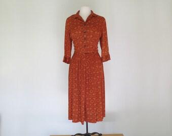 PUMPKIN PIE // sweet 1960s polyester shirt dress with rhinestone buttons