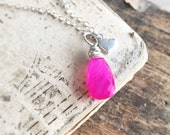 Hot Pink Chalcedony Necklace, Sterling Silver Heart Charm, Sterling Silver Gemstone Necklce, Valentine's Day Jewelry, Simple Petite Teardrop