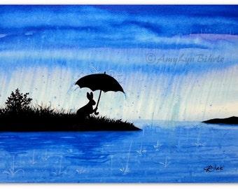 Wildlife Wonder Rabbit - Walk in the Rain Umbrella- Fantasy Art Prints by Bihrle wd201
