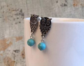 Owl Earrings, Cute Owl Post Earrings, Turquoise Blue