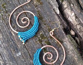 Macrame spiral earrings. Copper spiral turquoise earrings. Tribal gypsy hippie boho festival jewelerie