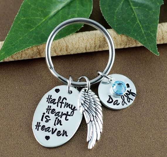 Half My Heart is in Heaven Keychain, Memorial Gift, Remembrance Keychain, Bereavement Jewelry, In Memory Of Dad, Memorial Gift, Angel Wing