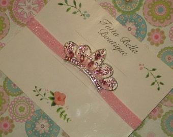 Baby Crown Headband, Pink Rhinestone Tiara Headband, Baby Tiara Headband, Pink Glitter Headband, Toddler headband, Newborn Headband