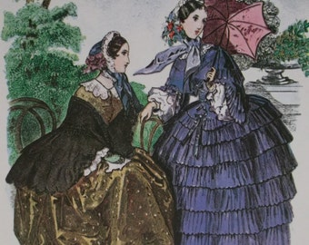 Beautiful Victorian Ladies-1800's Fashion Hoop Dresses-Parasol-Colorful Artist Signed Litho Print