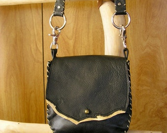 """Black and Metallic Gold Leather Purse, Cross-body Bag, whip-stitched, ball button, 44"""" removable leather strap, 7"""" x 7""""  x 1.5"""""""