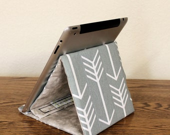 iPad Stand, Tablet Support, Gadget Stand in Grey, Turquoise, Pink or Lavender,  Tech Triangle Stand, Fold Flat for Storage, Light Weight