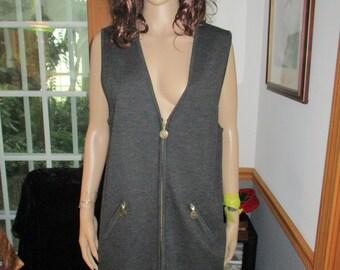 Nordstorm  Sleeveless Wool Dress /Vest Dress- Zipper Pockets Gray Vintage Wool Womens Dress