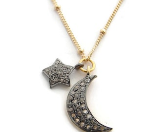 Star & Moon Necklace | Pave Diamond necklace |  Love You to the Moon and Back | Pave Diamond Charms | Best Gift Ideas | Yoga jewelry | MOON