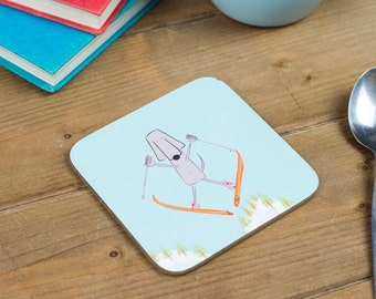 Skiing Coaster - Dog Coaster - Winter Skier - Drinks Coaster - Winter Sports - For Men - Ski Gifts - Dog Lover Gift - Snowy Mountains