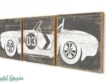 Boys Room Wall Art Decor - Custom Race Car Print on Distressed Wood Panels 12x36