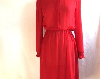 Vintage 70s RED SHEER High Ruffle Collar Dress / Lizzy and Johnny by Lucero Womens Size Medium Large