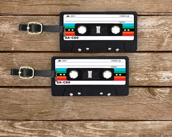 Personalized Luggage Tags Retro Rainbow Mixtape Cassette Tape Version 3 Metal Tag Set Personalized Custom