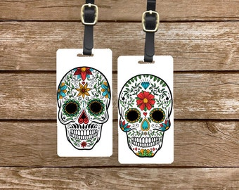 Personalized Luggage Tags Sugar Skulls Dia Del Muerto  - Metal Tags with Printed Personalization