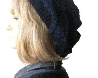 The Beverly Hat, Hand Knit Hat, Navy Lace Slouchy Hat, Vegan Knits, Womens Accessories, Blue Hat