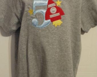 Boys Rocket ship Spaceship 5th Birthday Number Shirt sz 6/8 READY TO SHIP