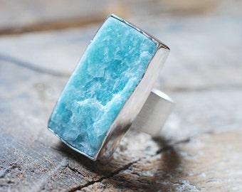 Rain Ring Raw Aquamarine