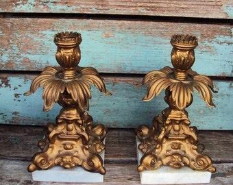 Vintage Candelabra Candle Holder Set Baroque Antique Gold Metal Ornate Hollywood Regency Marble Base Candle Stick Holder