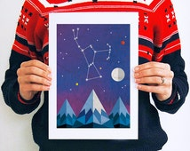 Orion A4 or A3 Art Print // Constellation // Star // Universe // Mountain // Geometric // Decor // Artwork // Star Map // Celestial