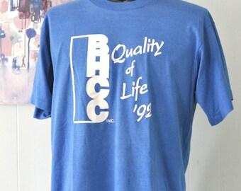 Soft Thin Vintage Tshirt Tee 1992 Bhcc Quality Life Royal Blue Bunker Hill Community Collge Boston Ma XL