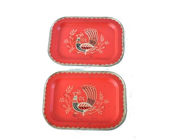 Set of 2 Small Trays Rolling Rings Change 60s Peacock Birds Mod Style Nature Bohemian