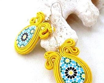 morrocan style earrings   small hippie earrings   yellow blue jewelry   ethnic jewellery   azulejo earrings   spring summer trends   boho