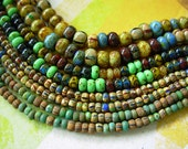 Aged Picasso Seed Beads, Assorted Bead Lot, Czech Beads (4 Strands) #1CCP