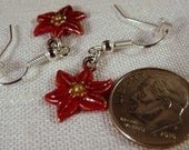 Earrings, Poinsettia, Red, Sterling Silver  4196