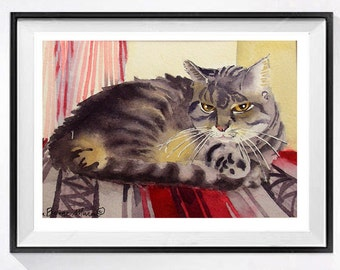 Personalized Custom painting Original watercolor painting 1 face Commission cat dog pet portraits Custom portraits Gift
