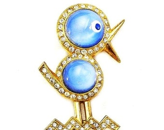 Blue Bird Glass Figural Brooch c.1940's